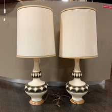 Load image into Gallery viewer, Vintage Black, Gold and Ivory Bulbous Lamps by Greenspan- Pair- with Shades