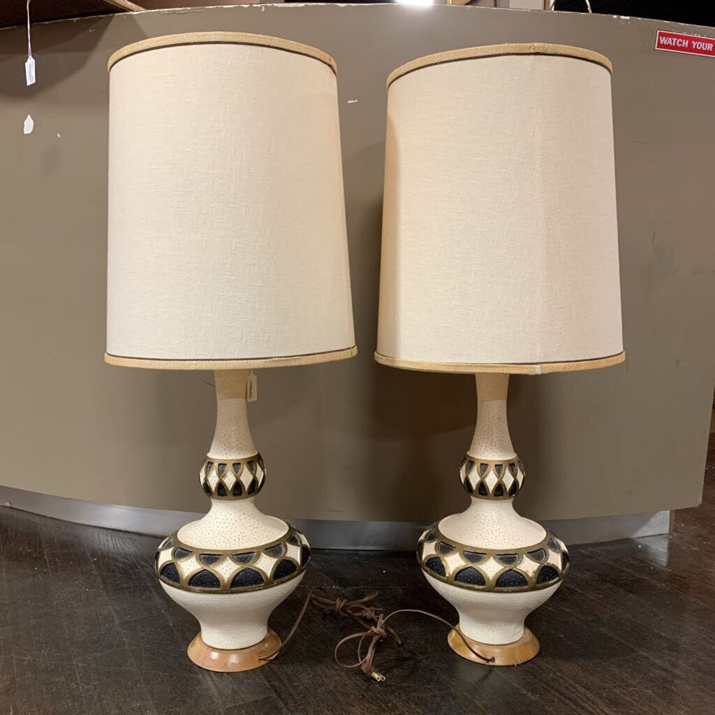 Vintage Black, Gold and Ivory Bulbous Lamps by Greenspan- Pair- with Shades