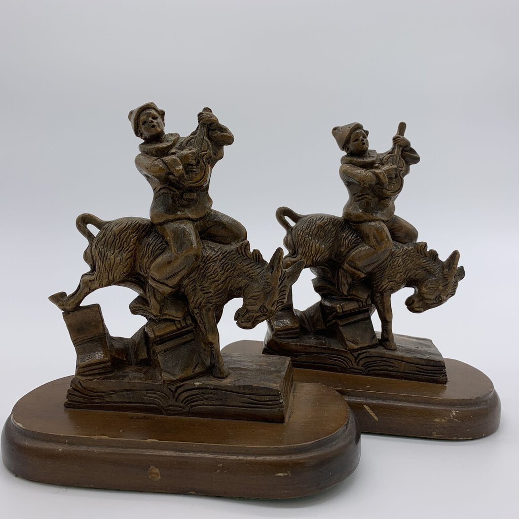 Black Forest Carved Jester and Donkey Bookends (Pr.)