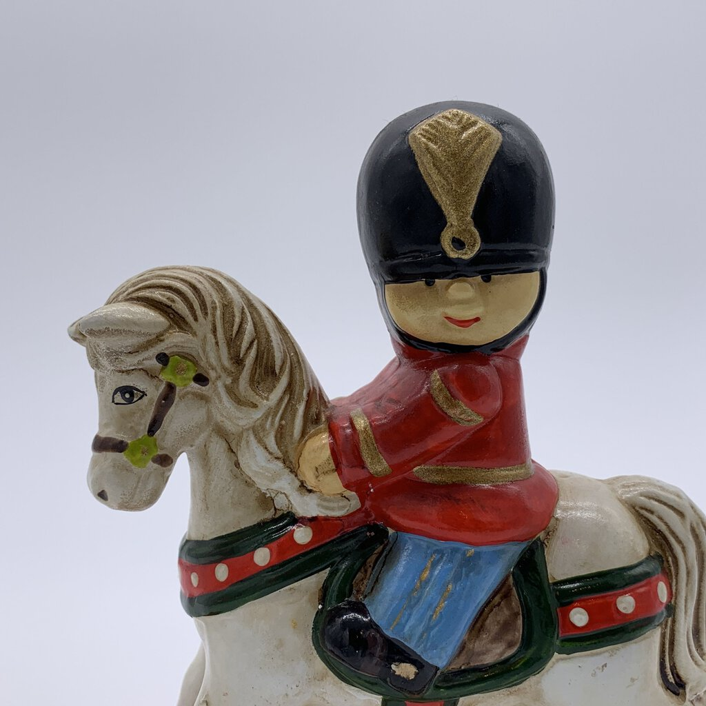 Enesco Soldier on Rocking Horse Bank 1983