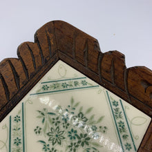 Load image into Gallery viewer, Carved Wood & Green Tile Vintage Serving Tray