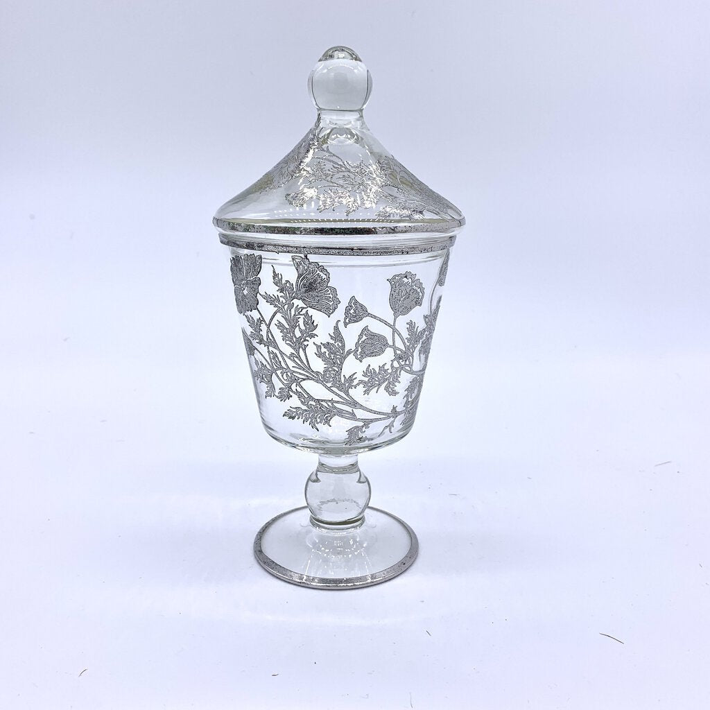 Silver Overlay Poppies Glass Candy Jar