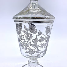 Load image into Gallery viewer, Silver Overlay Poppies Glass Candy Jar