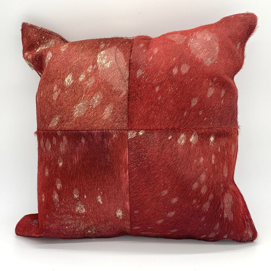 Red & Gold Cowhide Pillow