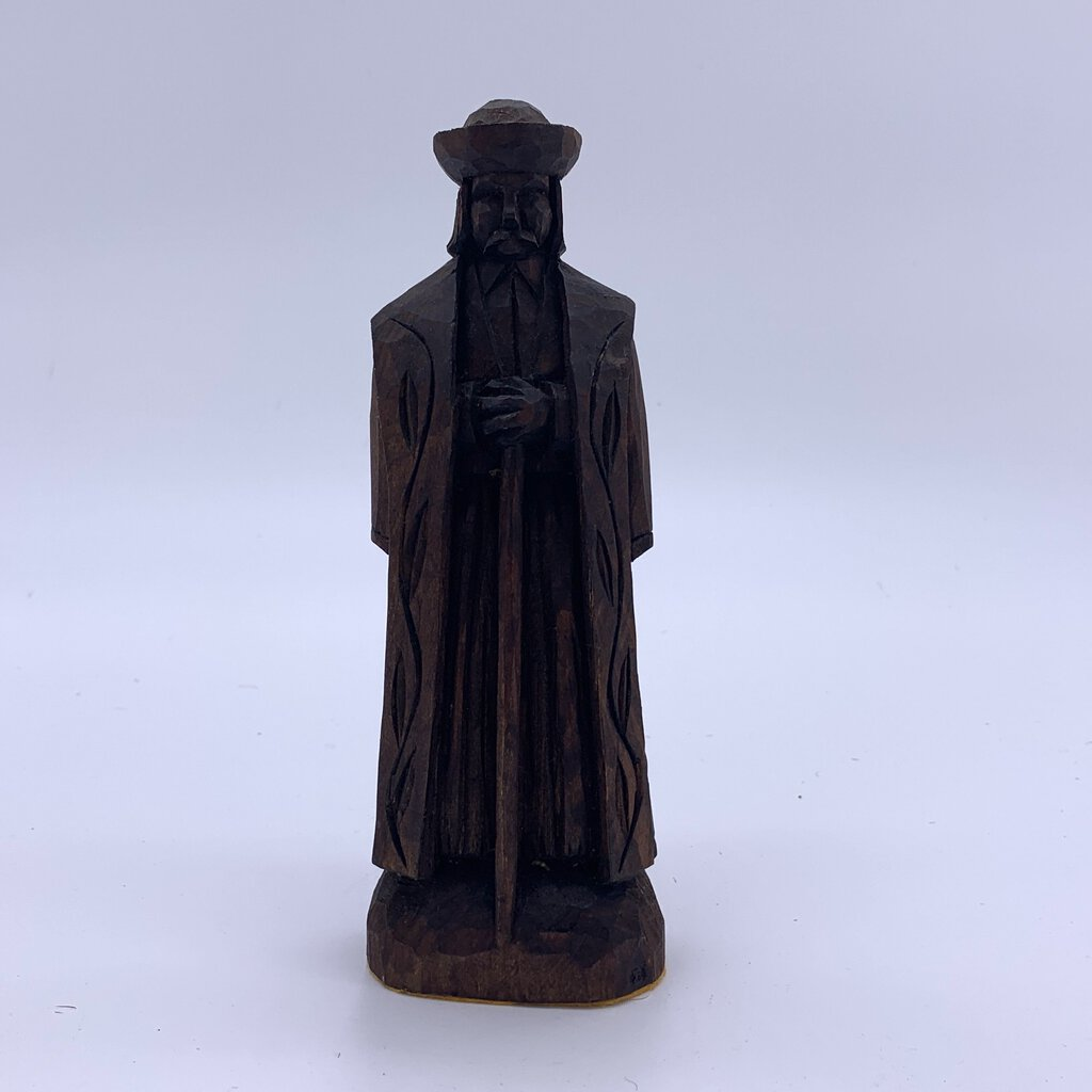 Carved Wood Figural Man with Staff