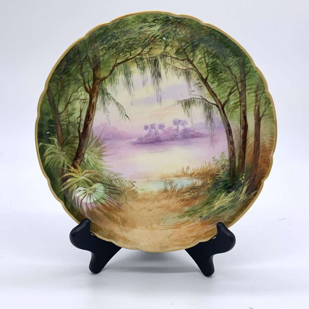 Island Scene Limoges Hand-Painted Decorative Plate by Tomy