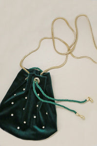 Emerald Velvet Compact Bucket Bag with Gold Chain