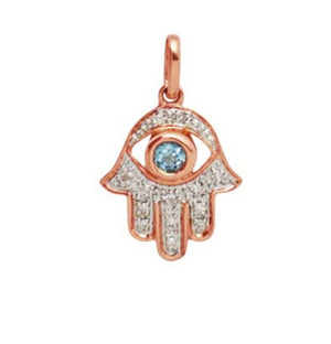 14k Rose Gold Diamond Hamsa Blue Topaz Necklace