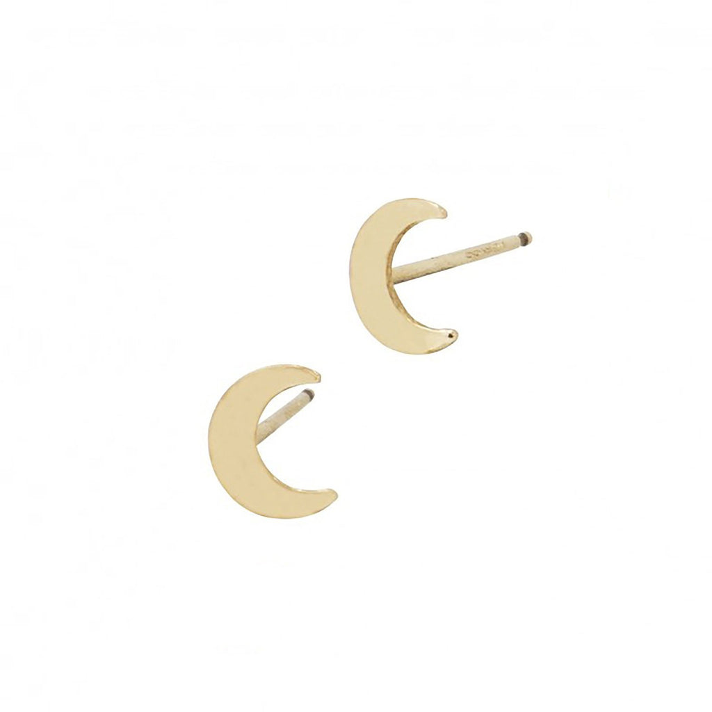 Beautiful 14k Gold Minimalist Crescent Moon Studs