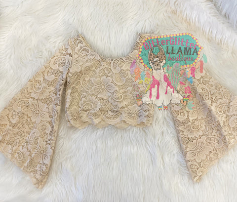 Cream lace flare sleeve crop