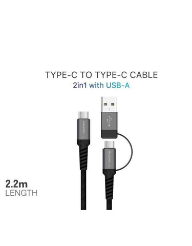 AMAZINGthing SupremeLink Type-C to Type-C Cable 2 in 1 with USB-A 5A/100W 2.2m
