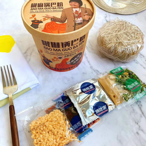 Hai Chi Jia Guo Ba Fen 嗨吃家锅巴粉 Mala Oden Hot Spicy Sour Instant Ma La Sweet Potato Noodles Vermicelli Glass Noodle 麻辣关东煮 suan la fen  lala clam Guo ba fen