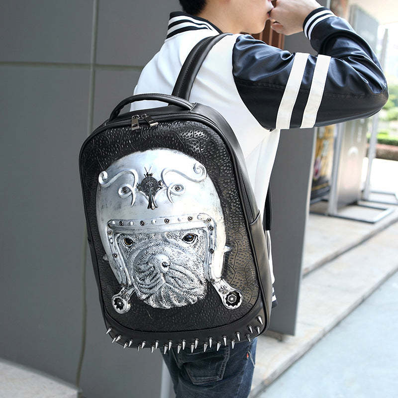 3D Print Animal Studded Backpack, PU Leather Cool Backpack Bookbag
