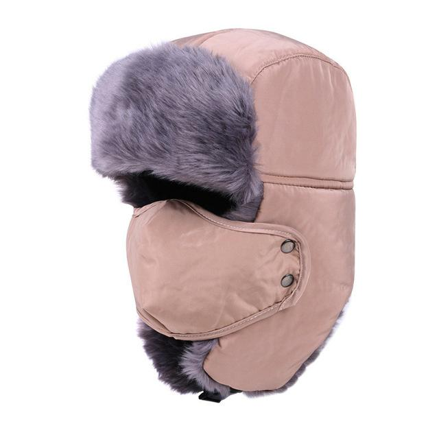 Men and Women Ushanka Ear Flap Chin Strap and Windproof Mask
