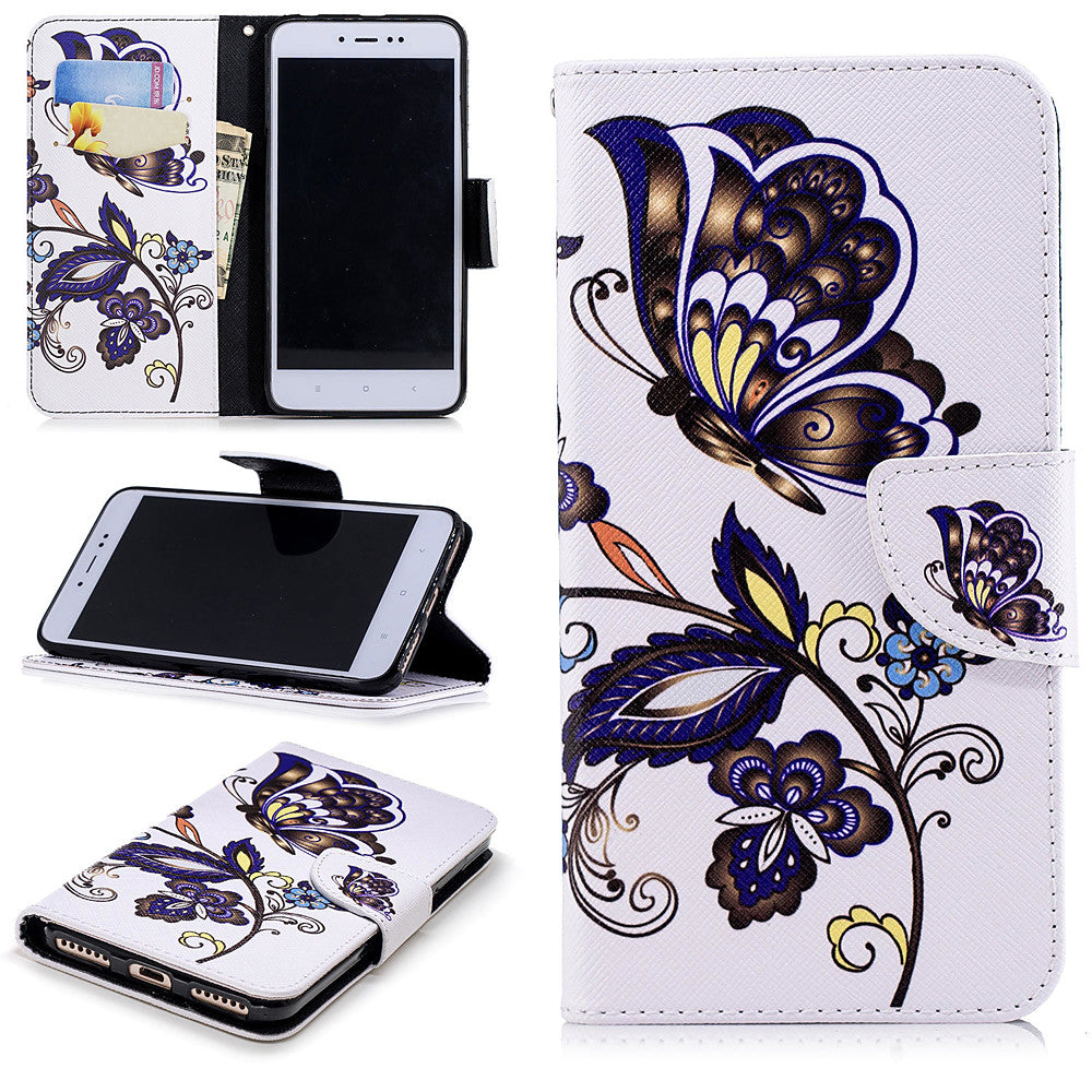 Case For Xiaomi Xiaomi Redmi Note 5A / Xiaomi Redmi Note 4X / Xiaomi Redmi Note 4 Wallet / Card Holder / with Stand Full Body Cases Butterfly Hard PU Leather