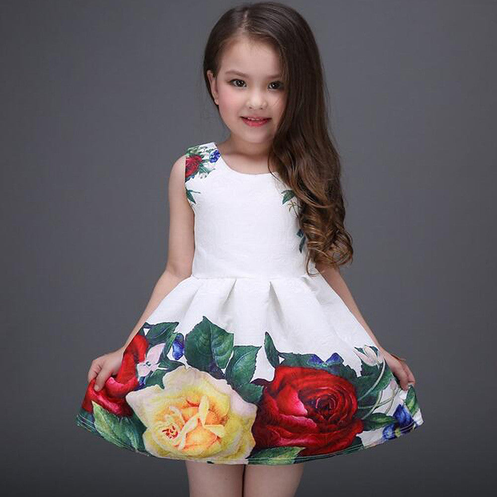 Kids Girls' Sweet Daily Holiday Floral Print Sleeveless Dress White