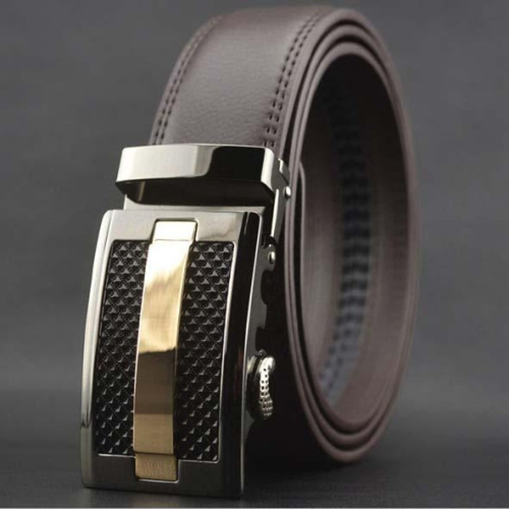 Men's Genuine Leather Ratchet Dress Belt with Linxx Buckle