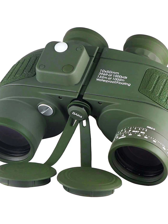 Boshile 10X50 Marine Military Binoculars for Adults, Waterproof Binoculars with Rangefinder Compass BAK4 Prism FMC Lens for Bird Watching Hunting Boating-Army Green