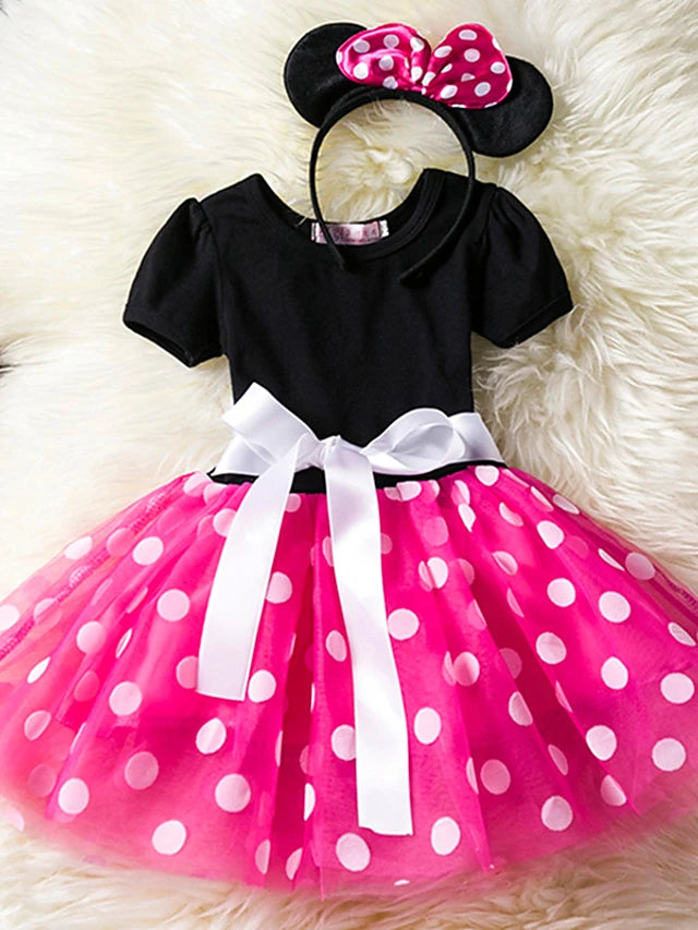 Toddler Girl Polka Dots Party Fancy Costume Tutu Dress up Dance Leotard Gymnastic Cosplay Cartoon Ear Headband