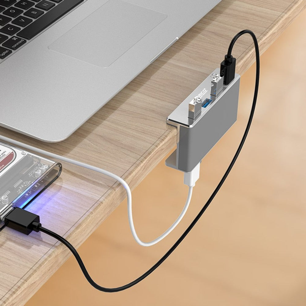 Converter Snap-In USB 3.0 Hub, Aluminum 8 Port USB Extend Hub with 12V/4A Power Adapter USB 3.0 Port Splitter with Individual Switch