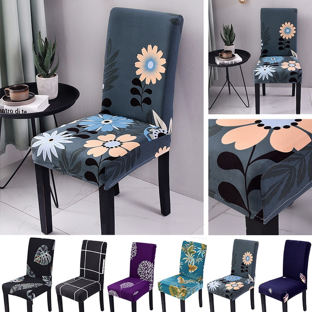 Stretch Dining Room Chair Cover Spandex Removable Washable Floral Printing Chair Slipcover for Kitchen Living Room