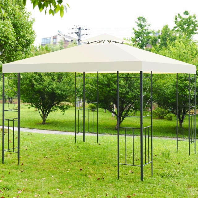 2 Tier 10'x 10' Canopy Gazebo Tent Shelter, Art Steel Frame for Home/Garden/Lawn/Patio House Party, Patio Garden Structures Gazebos
