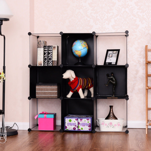 3 Tiers Decoration Kids Childern Bedroom Slot Shelf 9 Cubic Bookshelf Bookcase Storage Cabinet Apartment Living Room Hallway Bathroom Storage Rack Display Furniture