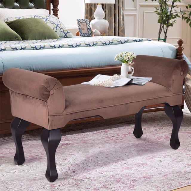 "Padded 45"" Brown Microfiber Rolled Armrest Bed Bench Ottoman Chair Seat Wood Leg"