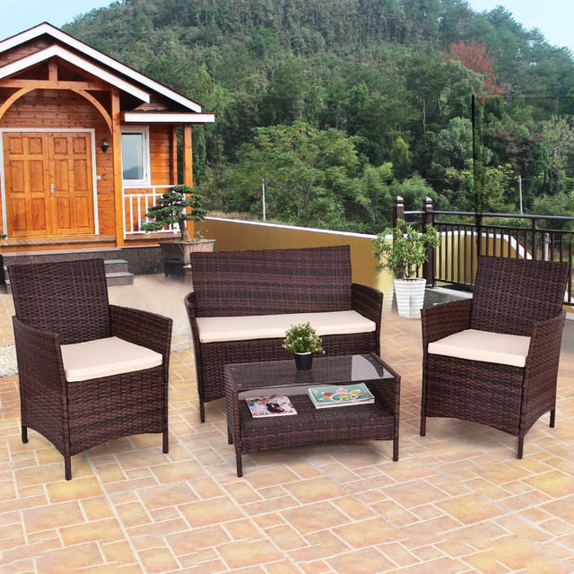 4Pcs Poolside PE Rattan Wicker Coffee Table Shelf Single Sofa Garden Loveseat Outdoor Patio Furniture Set w/Cushion - Brown with Ebook