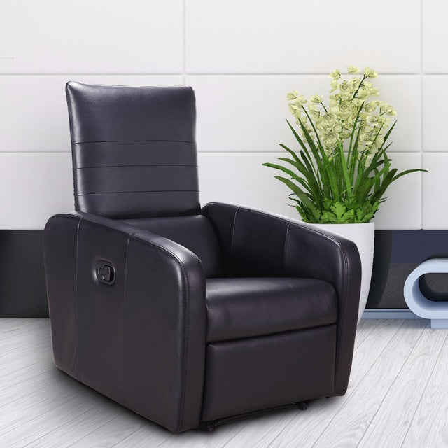 Manual Recliner Chair Foldable-Back Leather Modern Reclining Chair Sofa Seating W/Durable Framework Living Room Office Sofa Chair Recliner (Black)