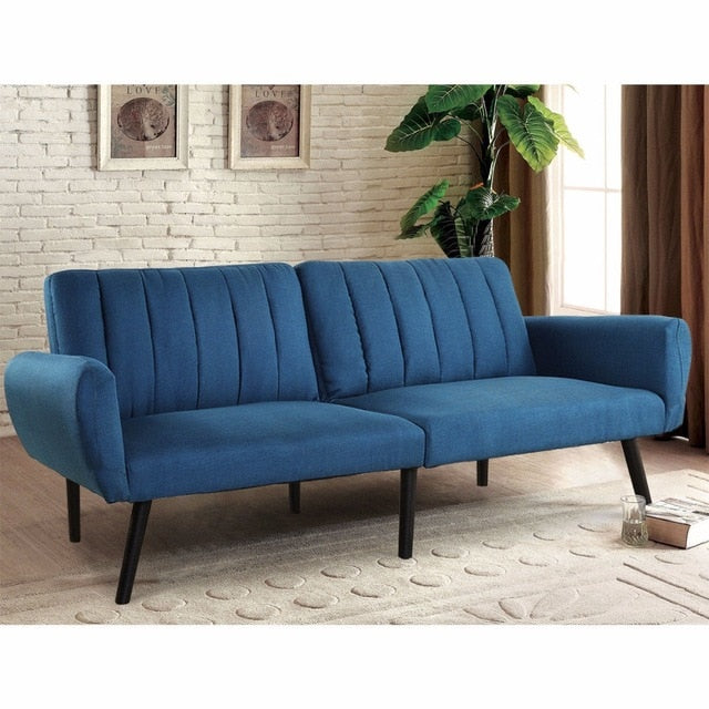 Modern Plush Tufted Linen Fabric Splitback Living Room Sleeper Futon (Blue)