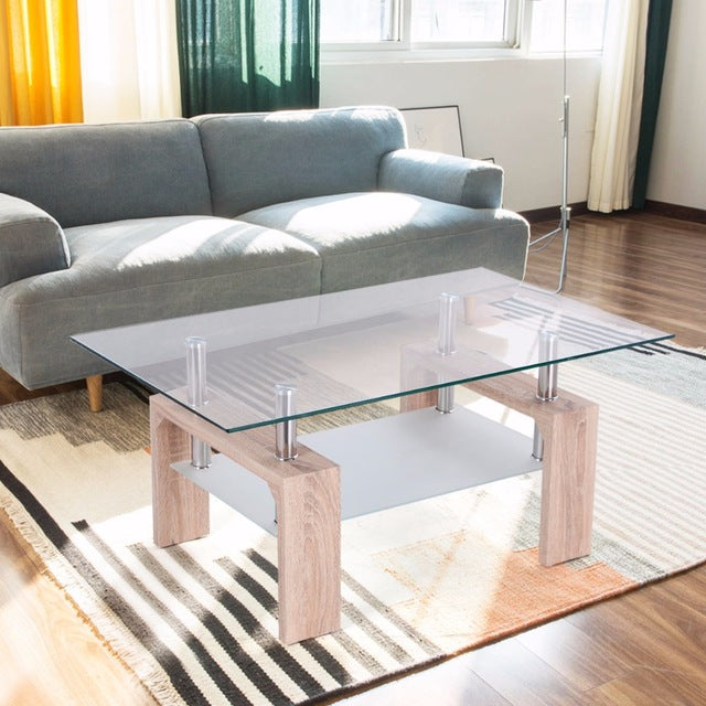Rectangle Glass Coffee Table-Walnut Modern Side Coffee Table with Lower Shelf, Wooden Legs-Suit for Living Room