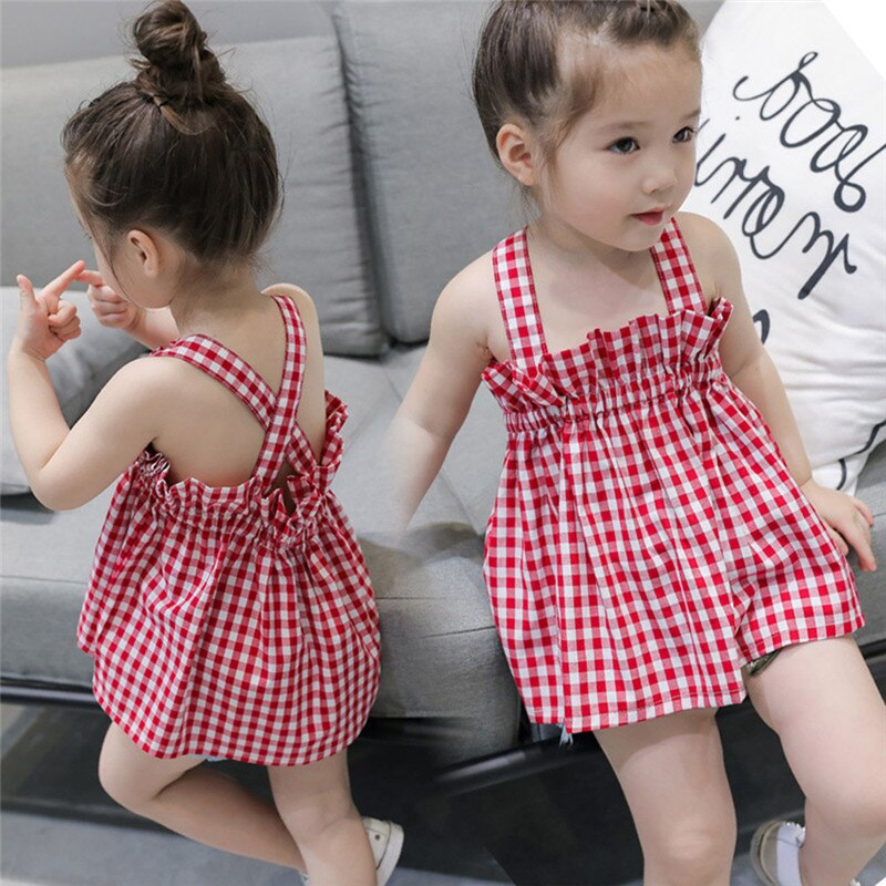 Toddler Baby Girl Plaid Dress Short Sleeveless Dress