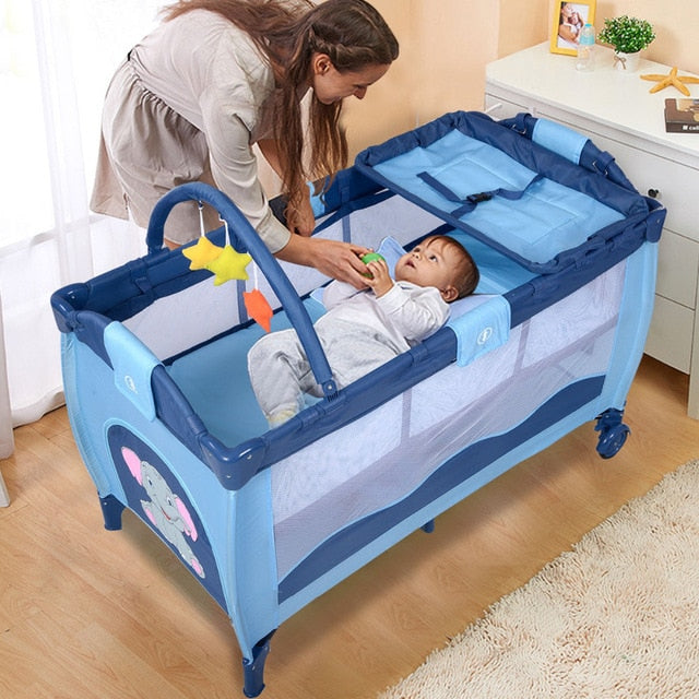 Baby Playard, Foldable Baby Crib with Bassinet, Changing Table, Toys, Wheels and Brake, Portable Design with Carry Bag, Large Capacity Playpen, Nursery Center for Boys and Girls