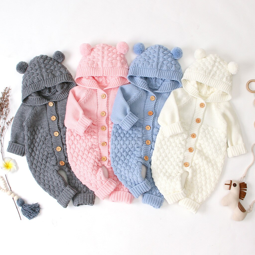 Knit Baby Jumpsuits, Unisex Newborn Infant Coat Button Bear Ear Hooded One-Piece Romper Sleepwear