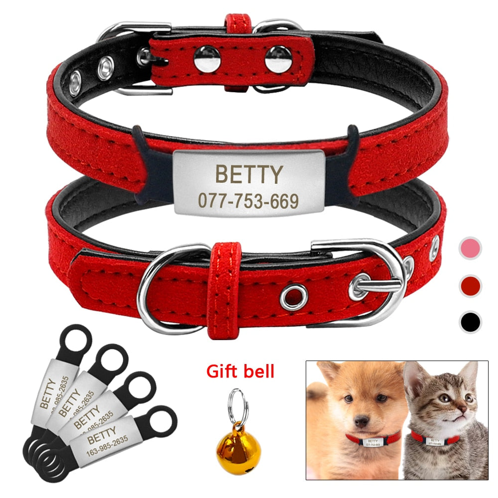 Cute Leather Padded Custom Dog Collar with Engraved Name Plate ID Tag,Fit Cats and Small Medium Dogs