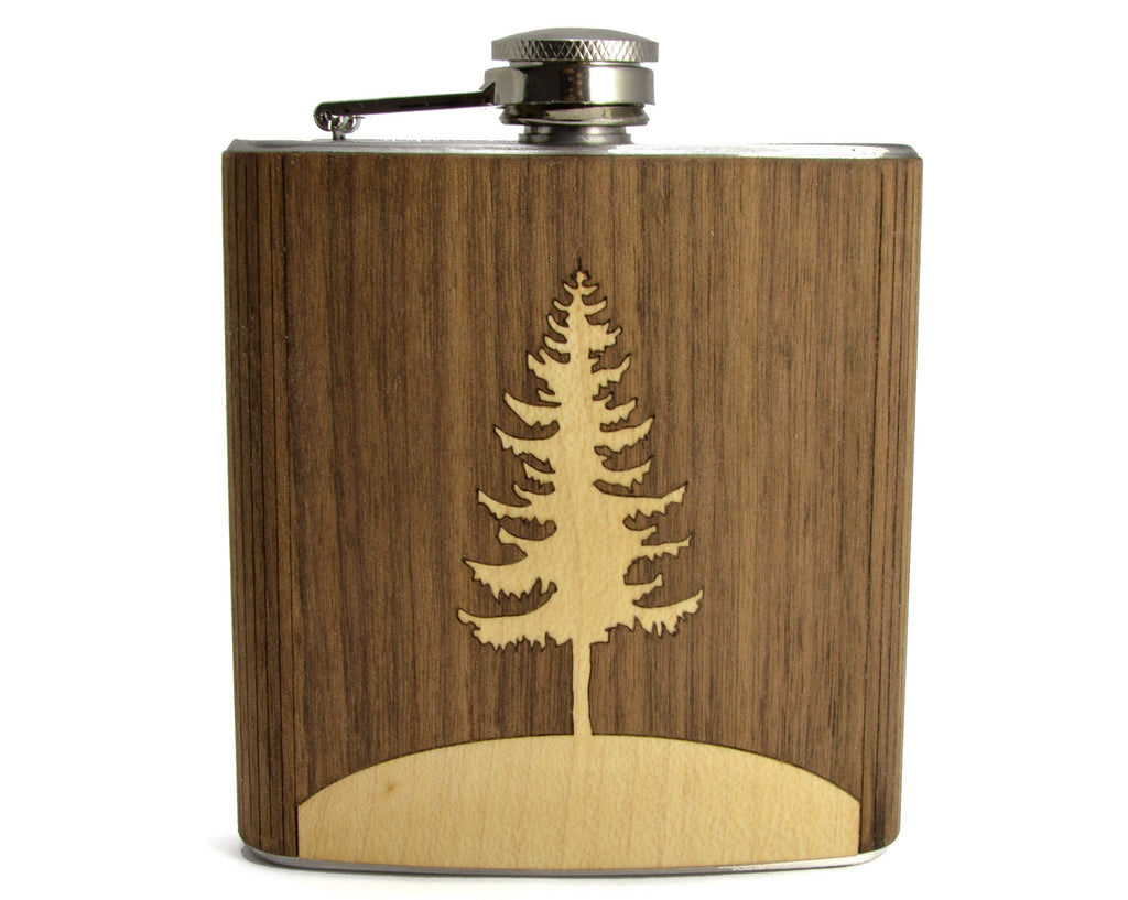 Wood Flask With Stainless Steel Body - Laser Engraved Flask With Pine Tree Design - 6 Oz Wood Hip Flask Handmade In USA