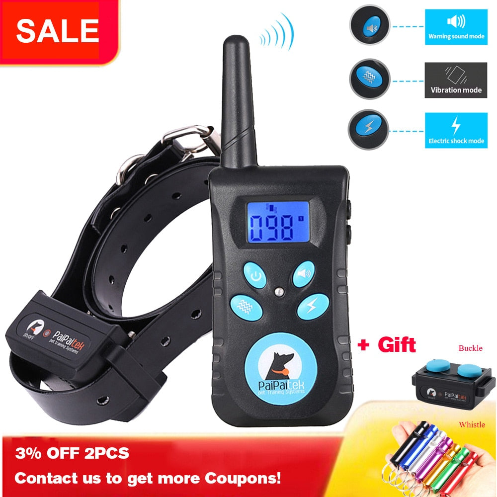Remote Dog Training Collar 1500ft Waterproof and Rechargeable Electric Shock Collar with Beep/ 100 Level Vibration/100 Level Shock(Shock Protection Technology) Fits All Size Puppies