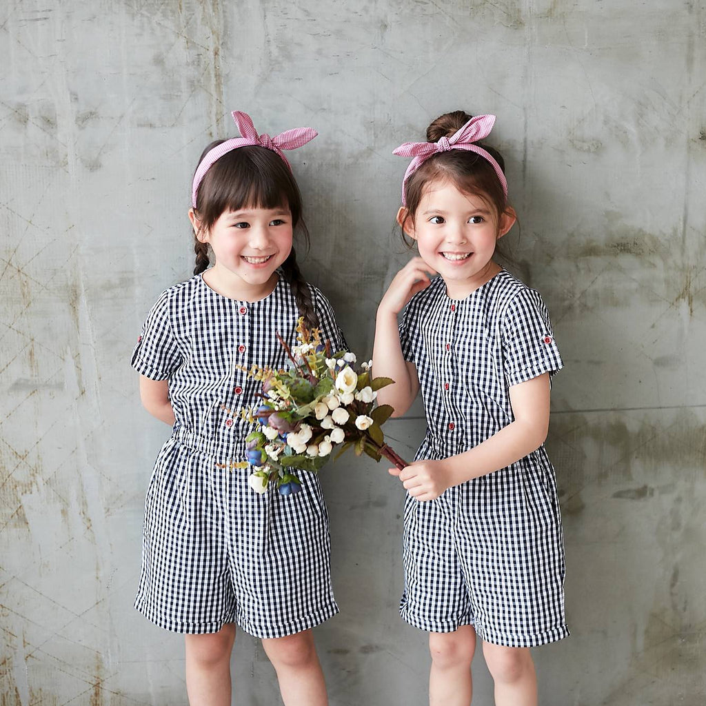 Girls Dark Blue & White Gingham Button-Front Romper