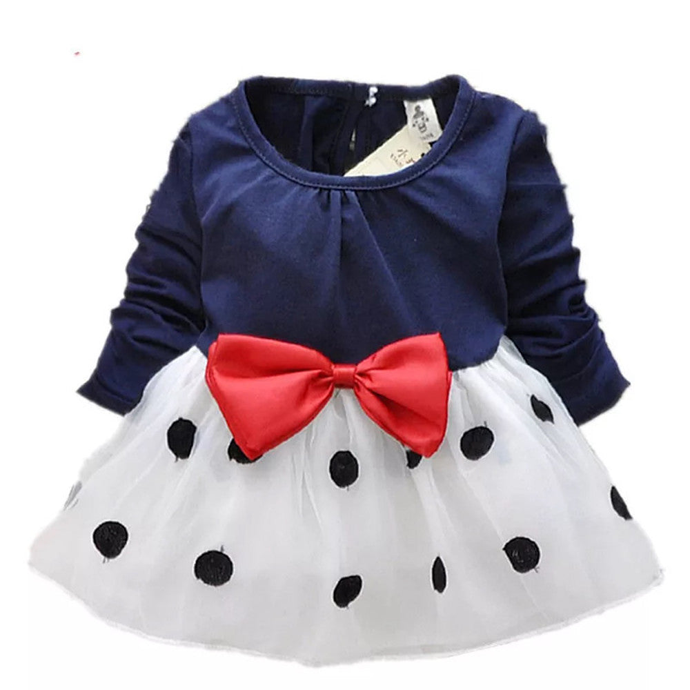 Toddler Girls' Sweet Cute Daily School Holiday Black & White Polka Dot Patchwork Bow Long Sleeve Long Dress Navy Blue / Going out