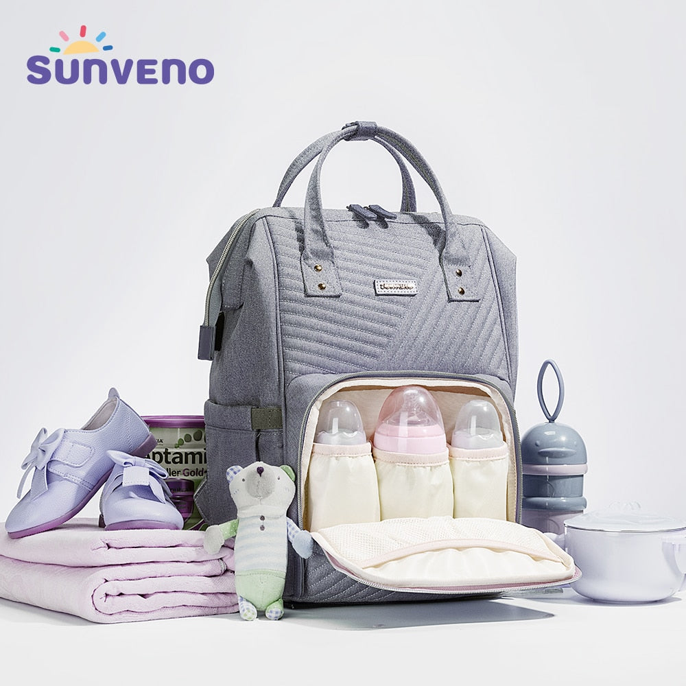 Sunveno Waterproof Diaper Bag Backpack Quilted Large
