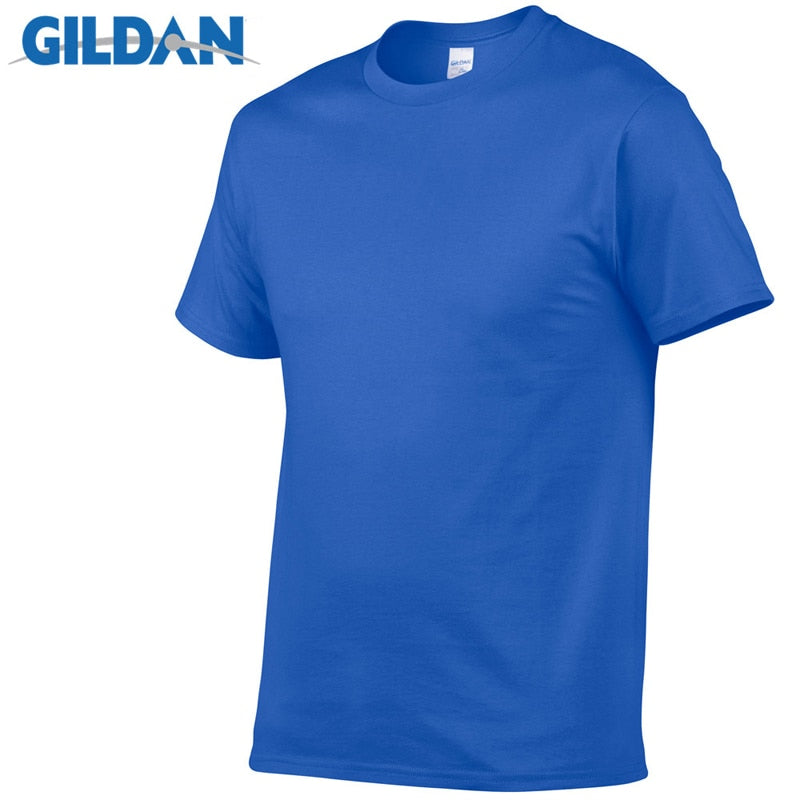 Gildan Brand Hot Sale Men's Summer 100% Cotton T-Shirt Men Casual Short Sleeve O-Neck T Shirt Comfortable Solid Color Tops Tees