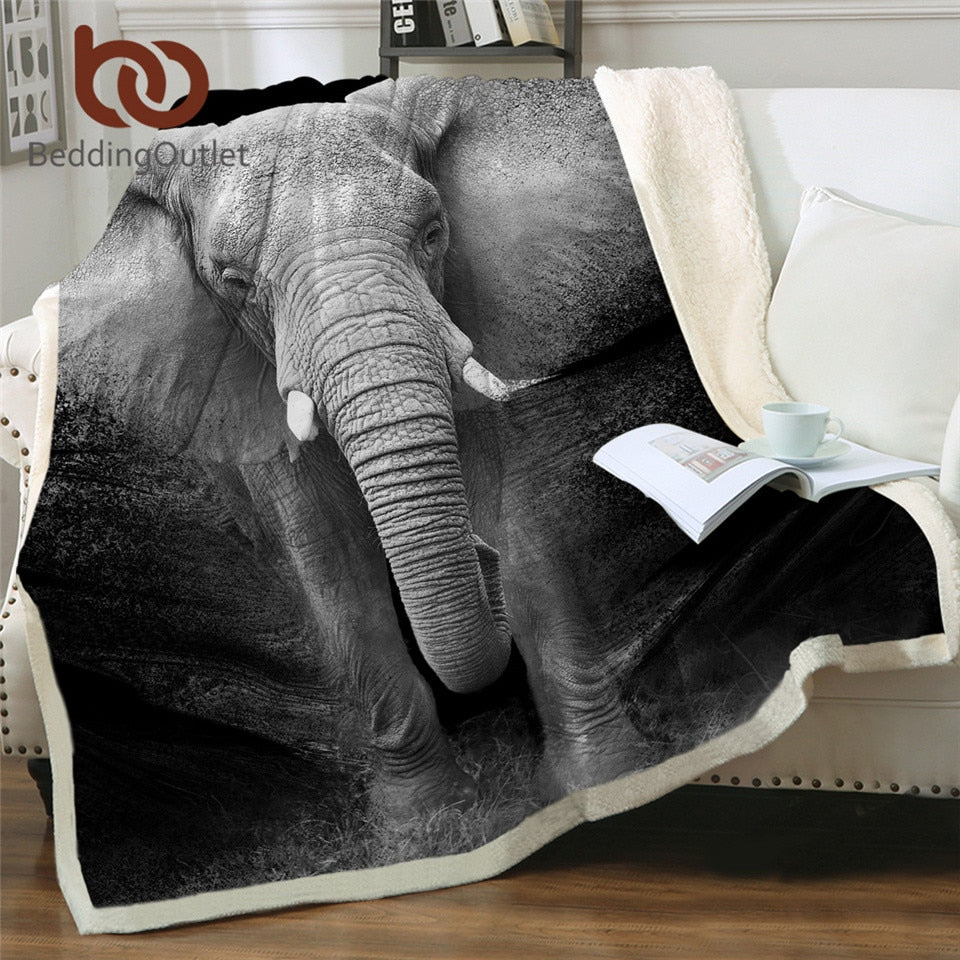 BeddingOutlet Elephant Sherpa Throw Blanket 3D Printed Animal Bedspread Photography Black and White Plush Blanket 150x200cm