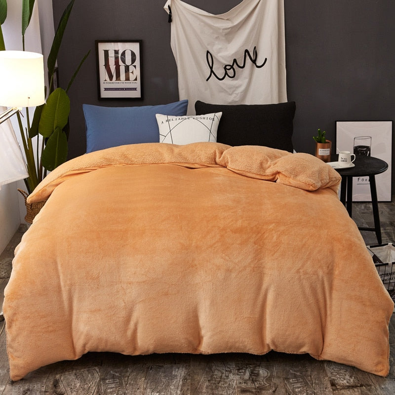Winter Thickened Warm Double Sided Duvet Cover Zipper Design Comforter Cover Throw Blanket Multipurpose Blanket Bedspread