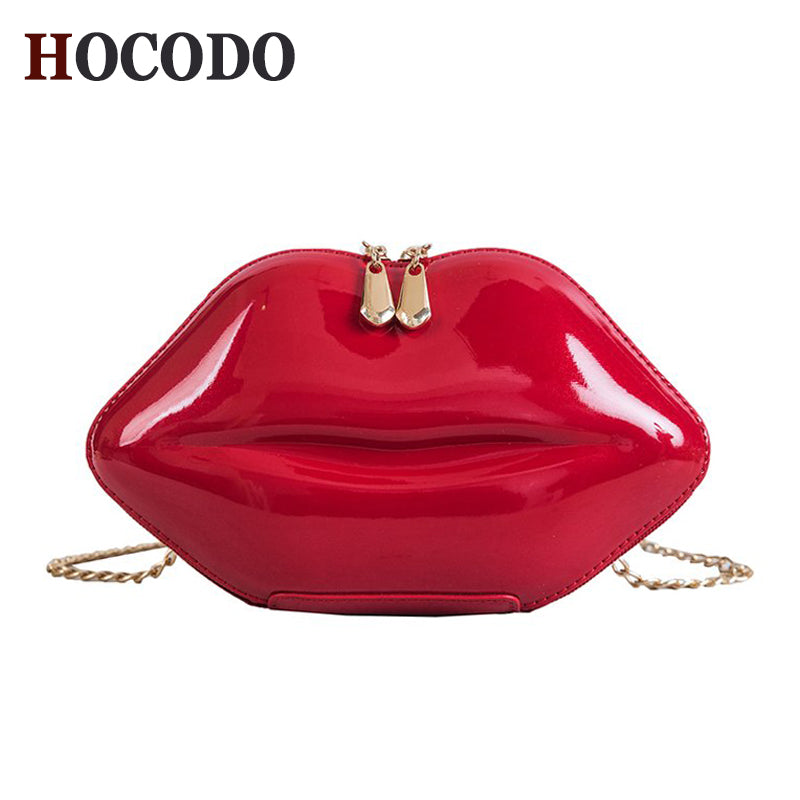 Fashion Women Patent Leather Red Lips Clutch Bag