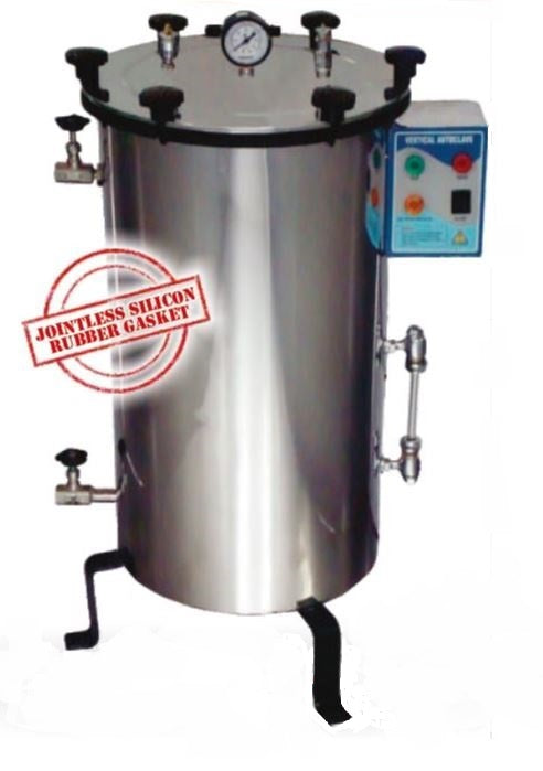 VERTICAL AUTOCLAVE WINGNUT LOCKING, SS, FULLY AUTOMATIC