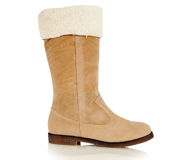 Ladies Cassandra Beige Flat Heeled Fur Snow Riding Boots Shoes