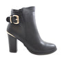 Ladies Manfield Black Gold Buckle Faux Leather Block High Heel Ankle Boots Shoes