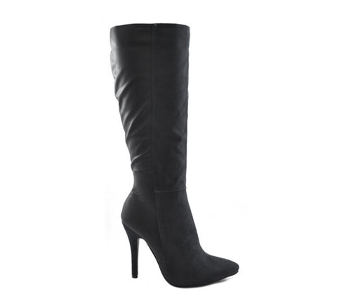 Black Split Faux Leather Suede High Heel Knee Boots S260