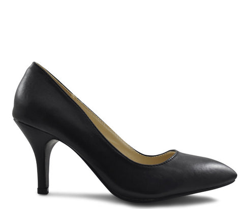 Black Matt Mid Heel Pointed Court Shoes S322